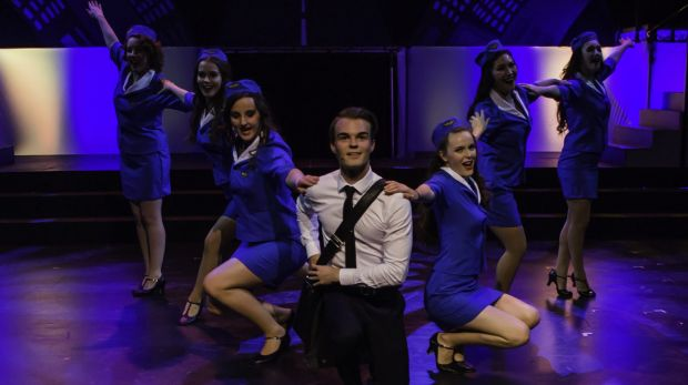 Alexander Clubb (centre) is terrific in <i>Catch Me If You Can</i>.