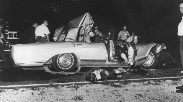 Jayne Mansfield's wrecked car after the fatal accident in which she and two others died on June 29, 1967.