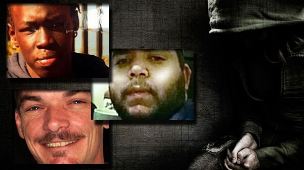 Kuol Akut (top left), Patrick Slater, (middle) and Alan Taylor (bottom left) were all allegedly killed by children.