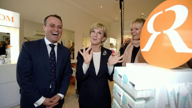 Mr Wilson campaigning with Foreign Minister Julie Bishop.