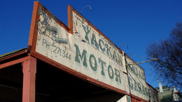 Yackandandah's historic garage. The town has now built its own new service station.