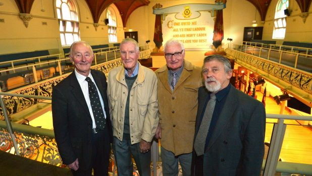 Retired firemen (from left) Laurie Lavelle, Trevor Reed and Les Gray, with journalist Jeff Penberthy, were at the ...
