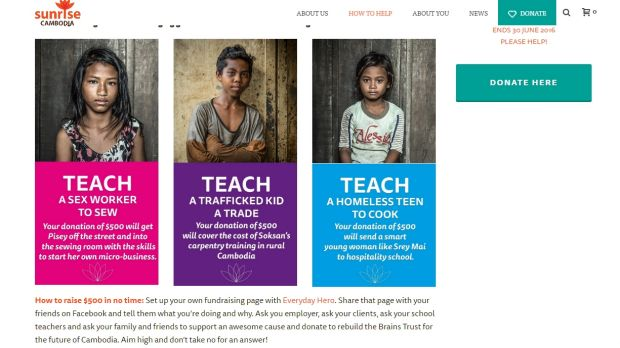 Images from Sunrise Cambodia's charity campaign in question.