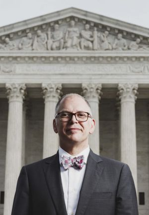 Jim Obergefell in front of the US Supreme Court in Washington, DC.
