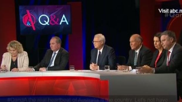 Monday night's panel: Farmer Fiona Simson, Agriculture Minister Barnaby Joyce, host Tony Jones, independent candidate ...