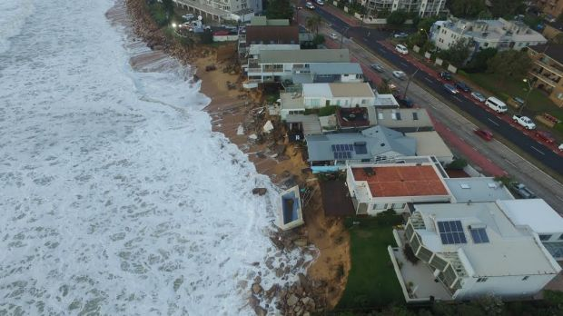 The row of waterfront homes at Collaroy badly affected by the storm.