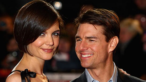Growing family ... Katie Holmes and Tom Cruise.
