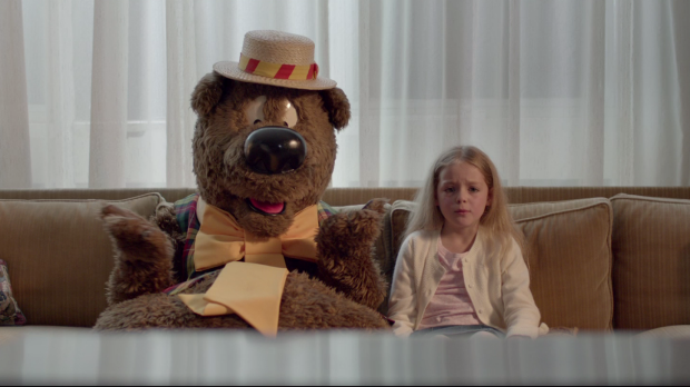 Humphrey B. Bear features in the new ad opposing funding cuts to the ABC.