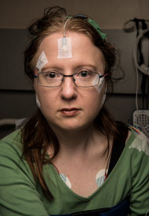 Kathrin Bain is fitted with sensors which will monitor her sleep.