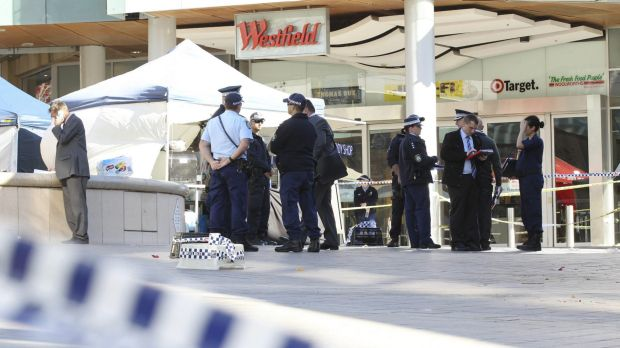 The crime scene at Westfield Hornsby where people were injured after officers opened fire on a man with a knife.