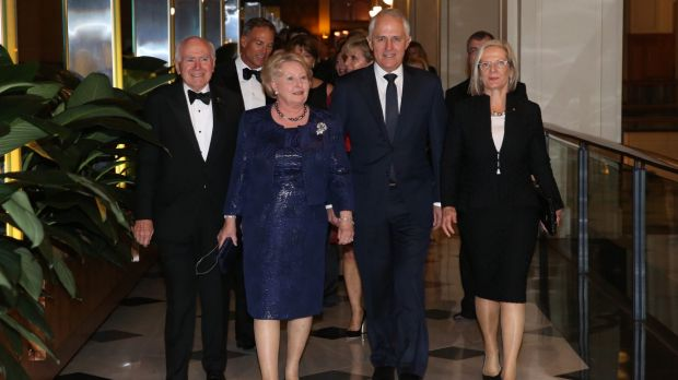 Former prime minister John Howard and wife Janette with Malcolm and Lucy Turnbull.
