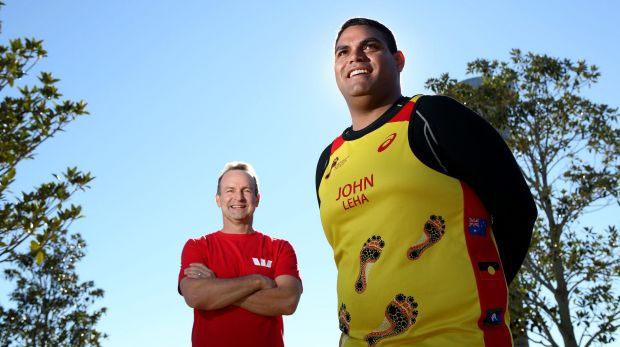 John Leha (right), who has lost 30kg since he took up running, with Westpac's Curt Zuber.