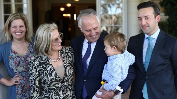 Malcolm Turnbull with wife Lucy, daughter Daisy and son-in-law James Brown at Government House last year.
