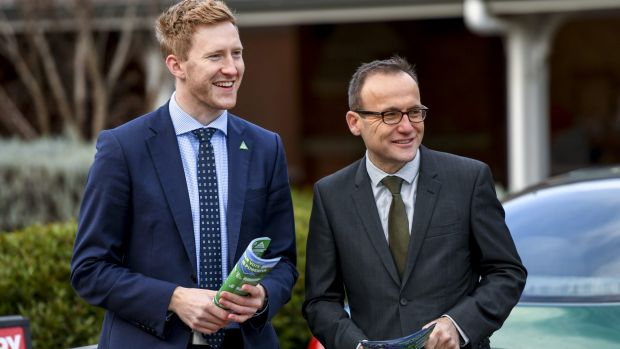 Greens candidate for Higgins Jason Ball is joined on the hustings by Greens MP for Melbourne Adam Bandt on Tuesday.