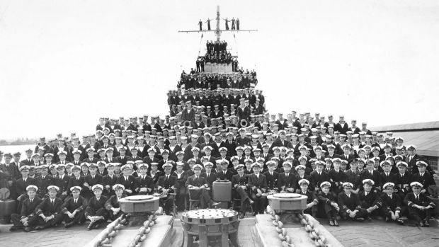 HMAS Perth's ship's company in Fremantle, August 1941.