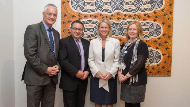 From left: the Nationals' Murray candidate, Damian Drum; Greater Shepparton City Council mayor Dinny Adem; Nationals ...