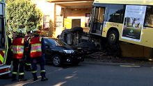 A bus landed on top of a car after it crashed in Northmead in Sydney's west.