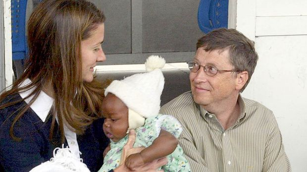 Melinda and Bill Gates with Cecilia Massango during a visit to a research centre in Mozambique in 2003. The couple has ...