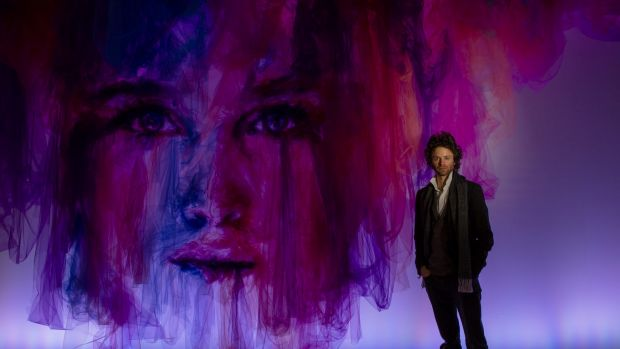 Artist Benjamin Shine with his artwork The Dance at Canberra Centre last year.  The Canberra Times  Photo Jamila Toderas
