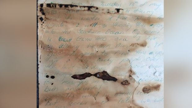 The letter was still readable despite decades in the ocean.