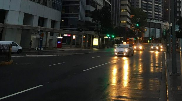 Brisbane woke to showers rain on Sunday morning.