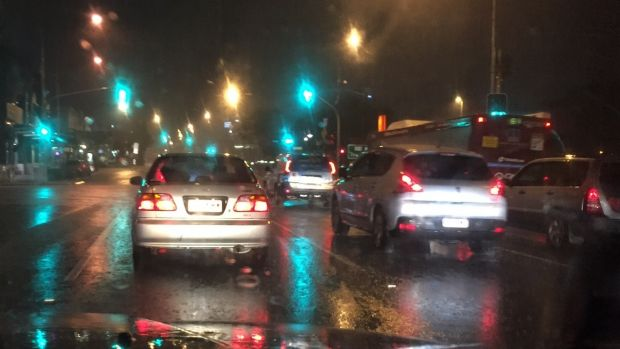 Brisbane drivers compete with severe weather.