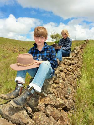 Alastair and Claudia Bridgewater play on one of the many dry stone walls that criss-cross their parent's farm near ...