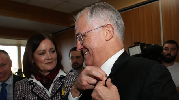 Sarah Henderson, federal MP for Corangamite, seen here with the Prime Minister, backs the call to scrap the tampon tax.