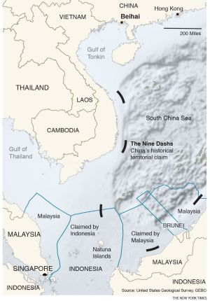 A map showing China's nine-dash line, Indonesia's territorial waters and the Natuna Islands