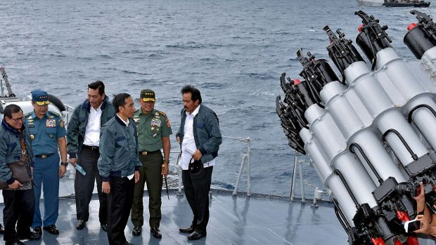 Indonesian President Joko Widodo, third right, on a visit to the Natuna islands earlier this month to affirm the ...