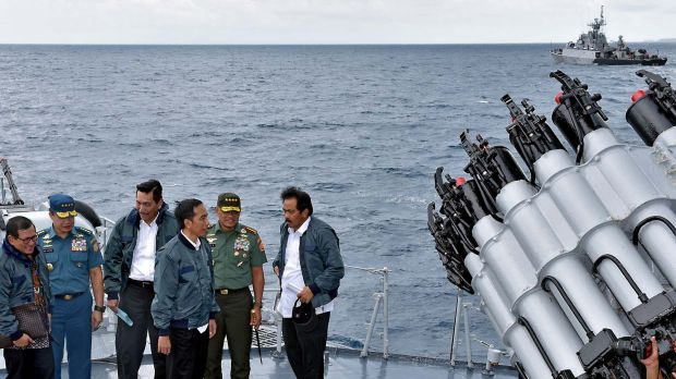 Indonesian President Joko Widodo, third from right, on a visit to the Natuna islands in June.