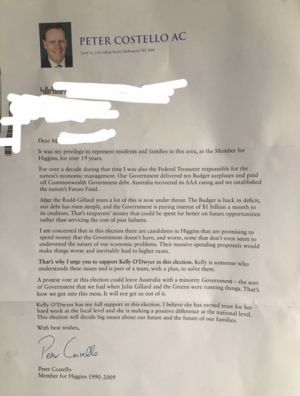 Peter Costello's letter in support of Kelly O'Dwyer.