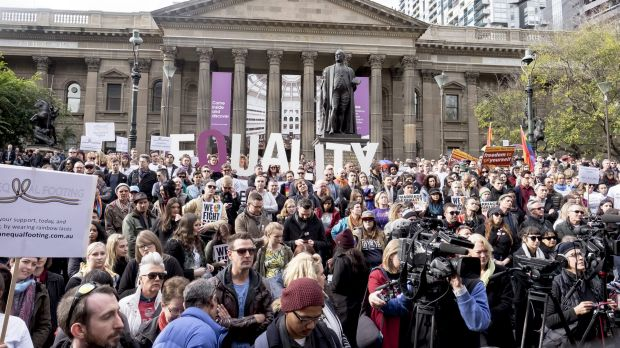A large crowd at a marriage equality rally in Melbourne in June.
