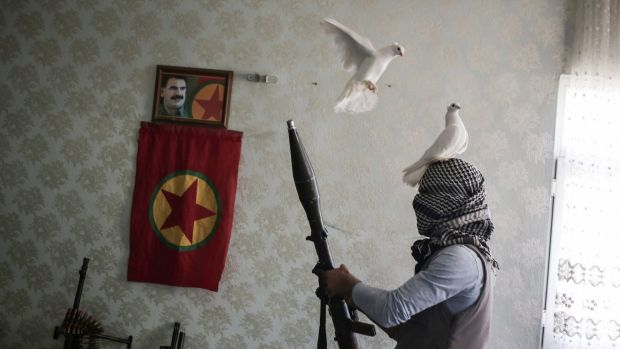 A PKK fighter in a house in the south-eastern Turkish city of Nusaybin in February.