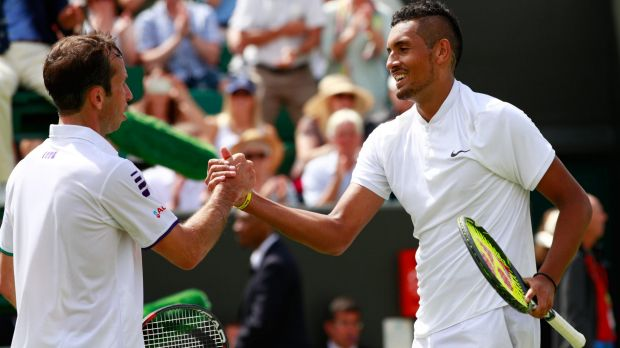 Nick Kyrgios has been fined for swearing during his winning match with Czech Radek Stepanek on Tuesday night.