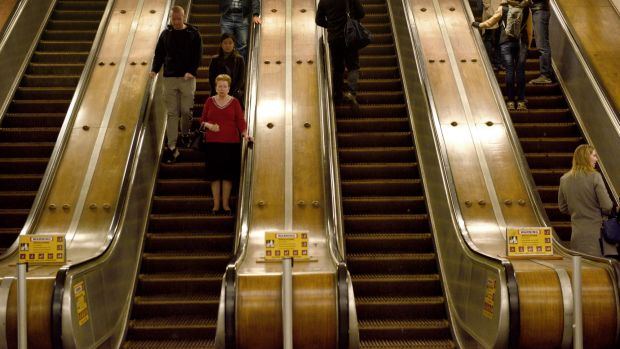 Wooden escalators have been a part of Wynyard Station since 1932.