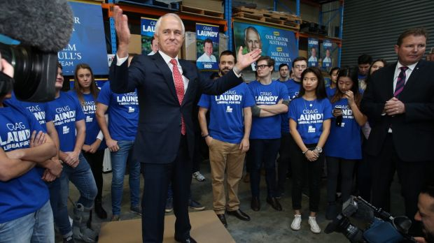Prime Minister Malcolm Turnbull on the campaign trail.