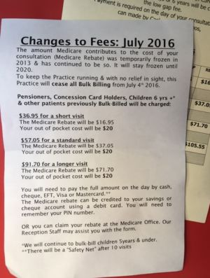 A notice informing patients of the Walker Street General Practice in Bowral, NSW, that it will stop bulk-billing ...