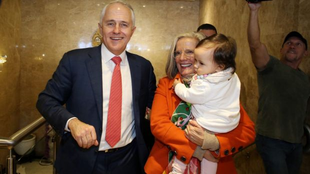 Malcolm and Lucy Turnbull with granddaughter Isla at the Sunny Harbour Yum Cha restaurant in Hurstville, Sydney on Wednesday.