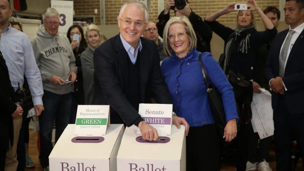 Prime Minister Malcolm Turnbull and his wife Lucy cast their vote in the 2016 federal election.