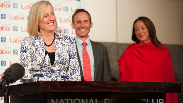Re-elected: Labor Senator Katy Gallagher, with MPs Andrew Leigh and Gai Brodtmann.