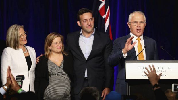 Malcolm Turnbull, daughter Daisy and son-in-law James Brown on election night in 2016