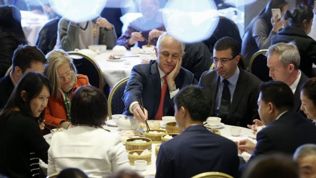 Prime Minister Malcolm Turnbull with his wife Lucy at the Sunny Harbour Yum Cha restaurant.