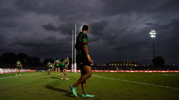 Ominous: Dark clouds gather over the Rabbitohs in Cairns.