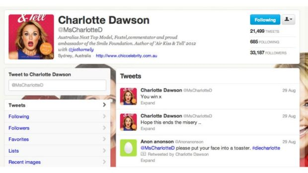 'You win:' After a spate of harassment in August 2012, Charlotte Dawson tweeted the above before taking a cocktail of ...