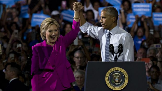 Hillary Clinton, presumptive 2016 Democratic presidential nominee, and US President Barack Obama at their first campaign ...