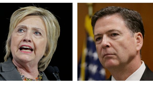 Presumptive Democratic presidential candidate Hillary Clinton  and FBI director James Comey.