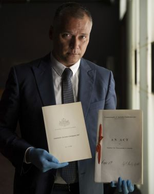 NewsStan Grant, journalist, and member of the Referendum Council examines the original Australian Constitution at the ...