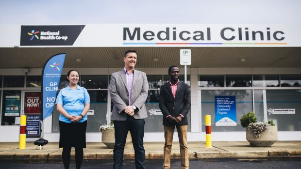 Nurse Kieth Ancheta,  director Adrian Watts and medical director Joe Oguns outside the National Health Co-op medical ...
