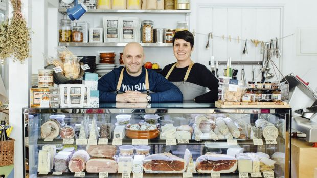 Rocco Esposito and his wife Lisa Piduttiat at their Project 49 deli in Beechworth.